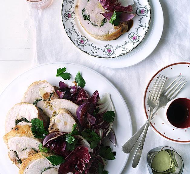 Pecorino-and-parsley turkey rotolo