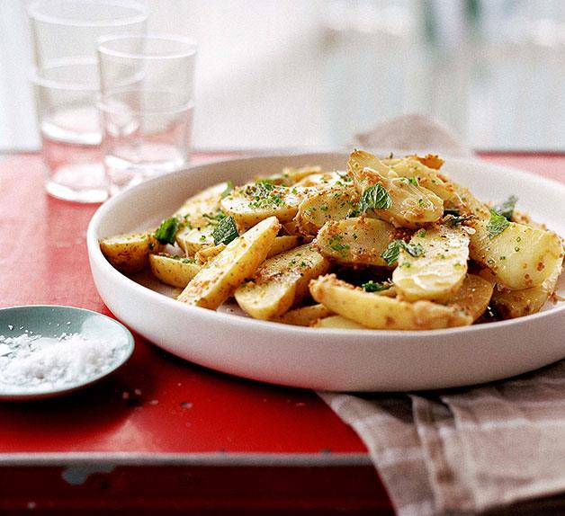 Potato and leek salad with seeded mustard vinaigrette