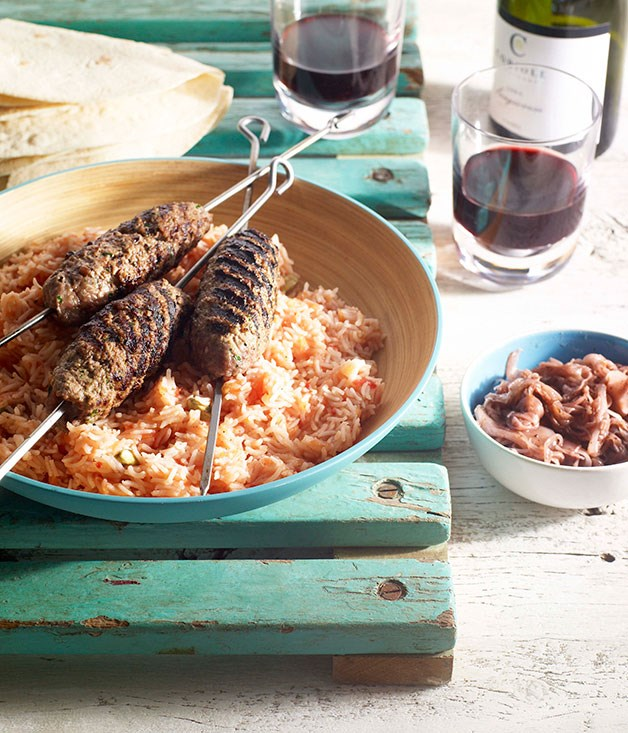 Lamb kofta with tomato rice and sumac fried onions
