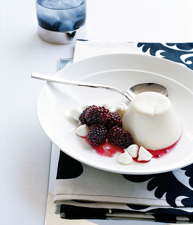 Almond milk panna cotta with macerated blackberries and almond meringues