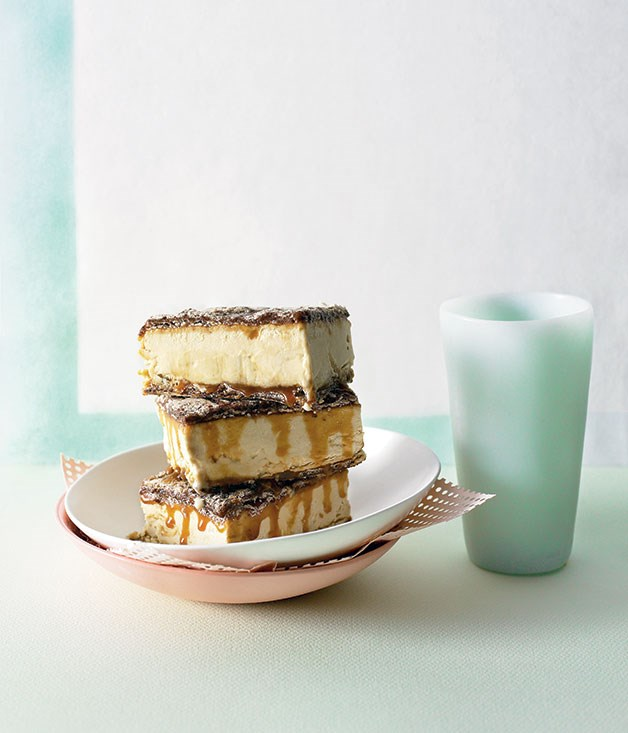 White chocolate-espresso parfait sandwiches