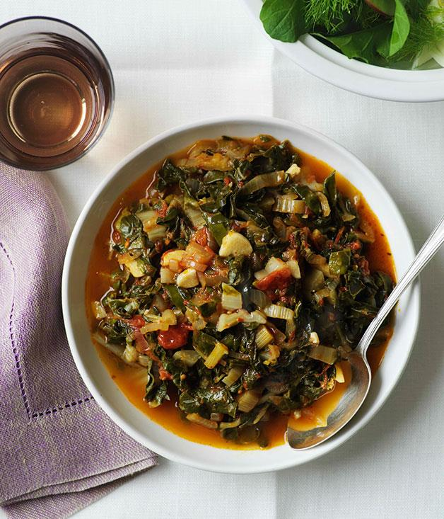 "[Stewed silverbeet](https://www.gourmettraveller.com.au/recipes/browse-all/stewed-silverbeet-9963|target=""_blank"")"