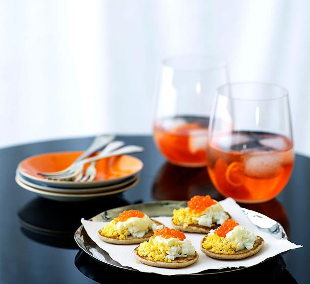 Blini with salmon roe