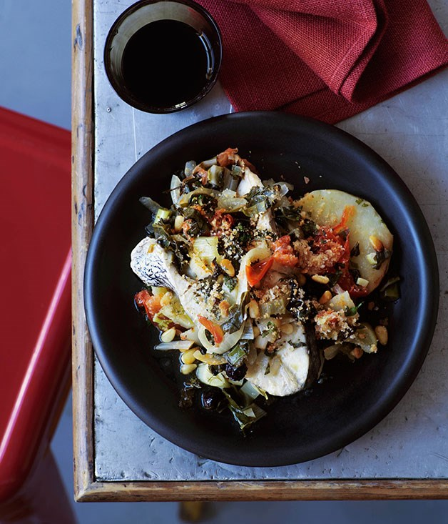 Baked jewfish with vegetables