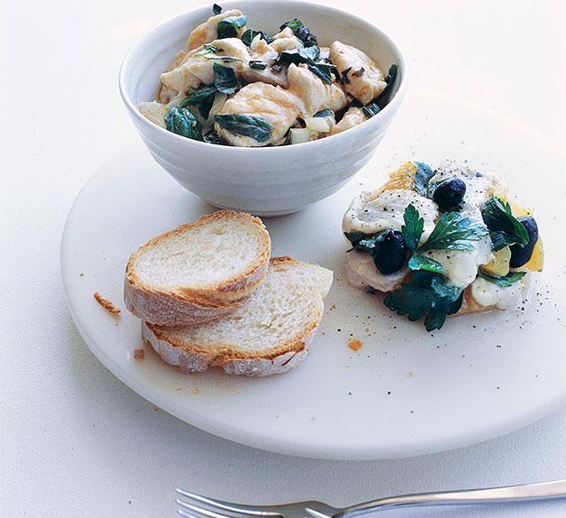 Blue-eye trevalla crudo and snapper, orange and olive salad