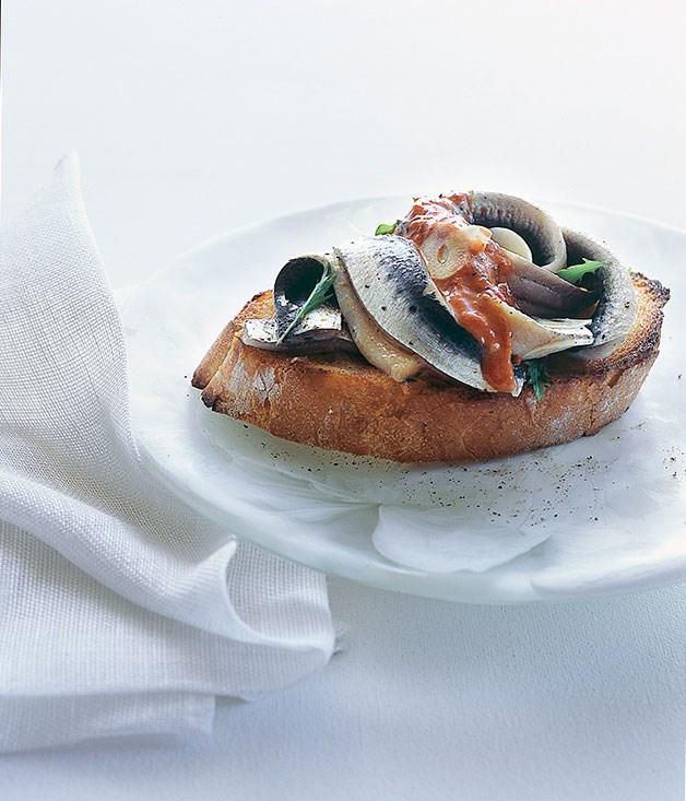 "[Marinated sardines on toast with piquillo pepper vinaigrette](https://www.gourmettraveller.com.au/recipes/browse-all/marinated-sardines-on-toast-with-piquillo-pepper-vinaigrette-9819 target=""_blank"")"