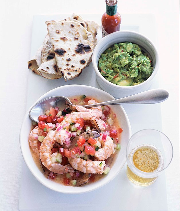 Prawn ceviche with guacamole and white corn tortillas