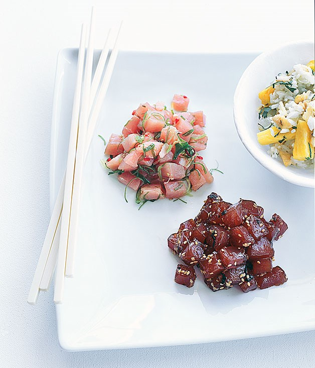"""[Marlin and tuna poke with fried rice](http://www.gourmettraveller.com.au/recipes/browse-all/marlin-and-tuna-poke-with-fried-rice-9823