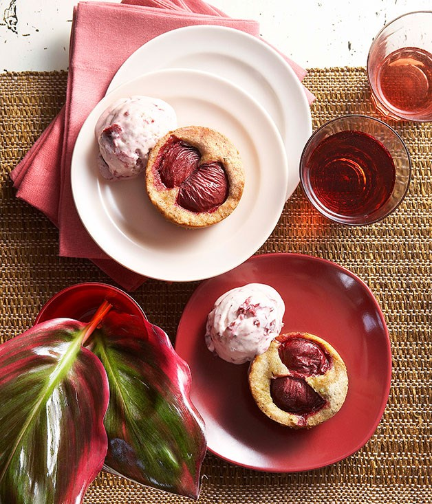 Plum burnt-butter cakes with plum semifreddo