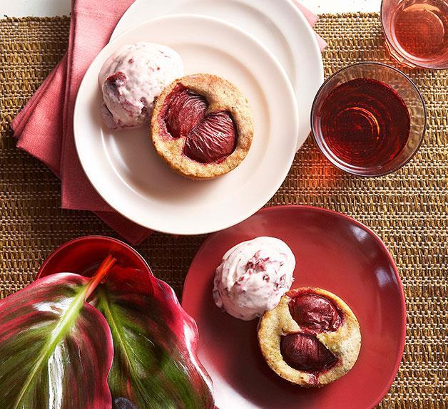 Plum burnt-butter cakes with plum semifreddo