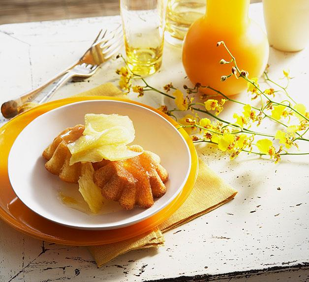Pineapple coconut cakes with pineapple syrup