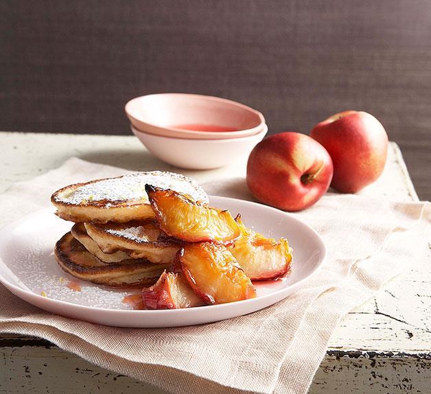 Buttermilk pancakes with glazed white nectarines