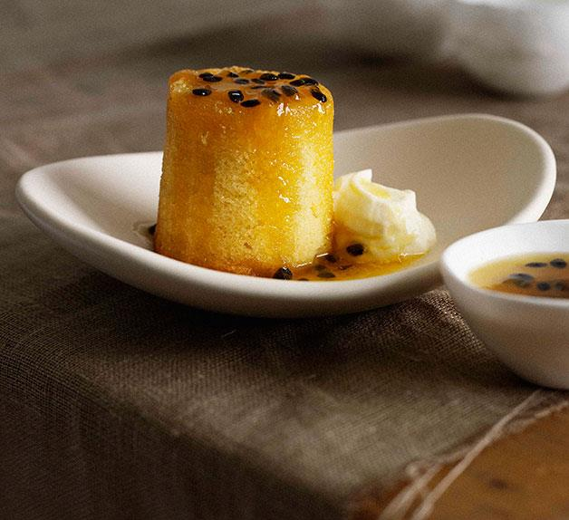 Baby lime cakes with passionfruit syrup and cream