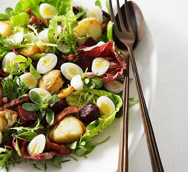 Quail egg, beetroot and bacon salad