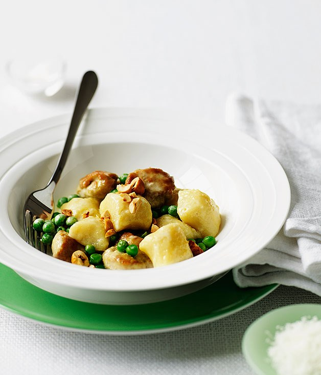 Gnocchi with sweetbreads, peas and hazelnuts