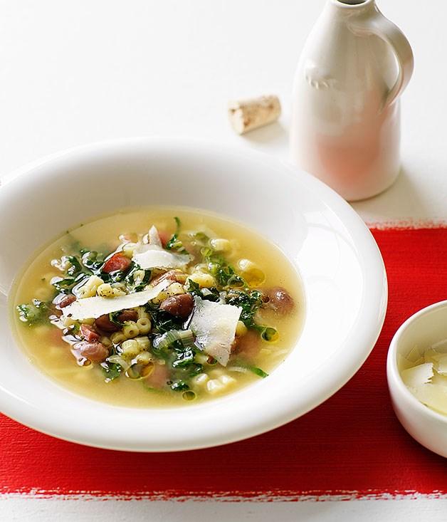 Ditalini, borlotti bean and cavolo nero soup