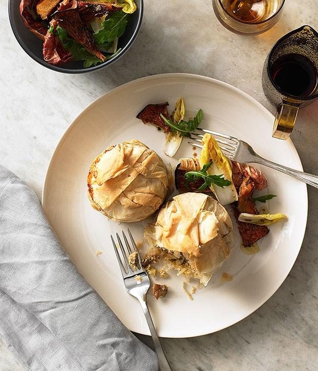 Rice, pine mushroom and Taleggio pies