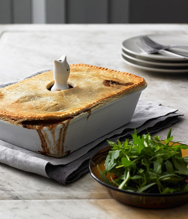 Herbed duck and rabbit pie with suet crust