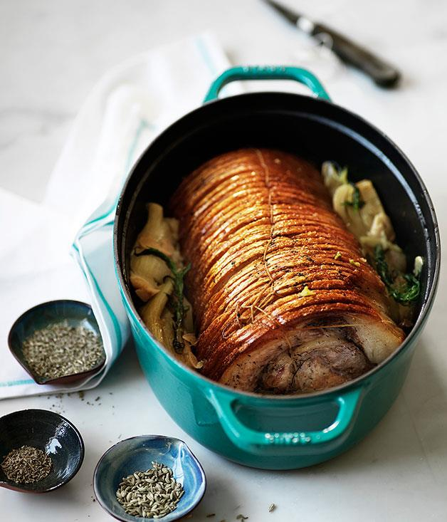 "**[Braised pork loin with fennel and cider](https://www.gourmettraveller.com.au/recipes/browse-all/braised-pork-loin-with-fennel-and-cider-9685|target=""_blank"")**"