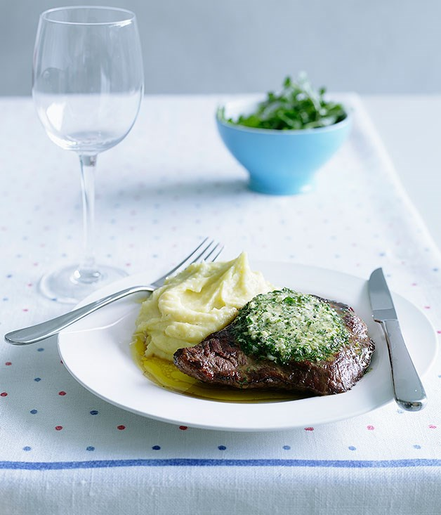 Onglet steak with green garlic butter and potato puree