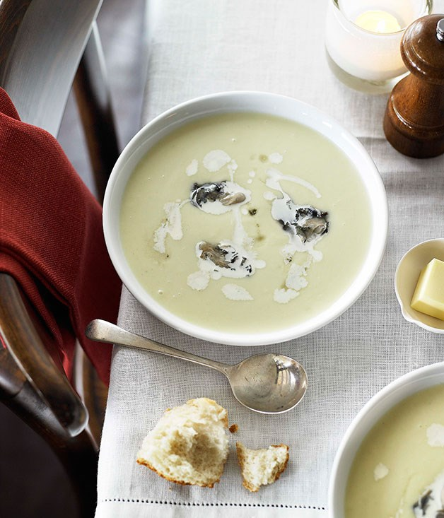 Celeriac soup with oysters