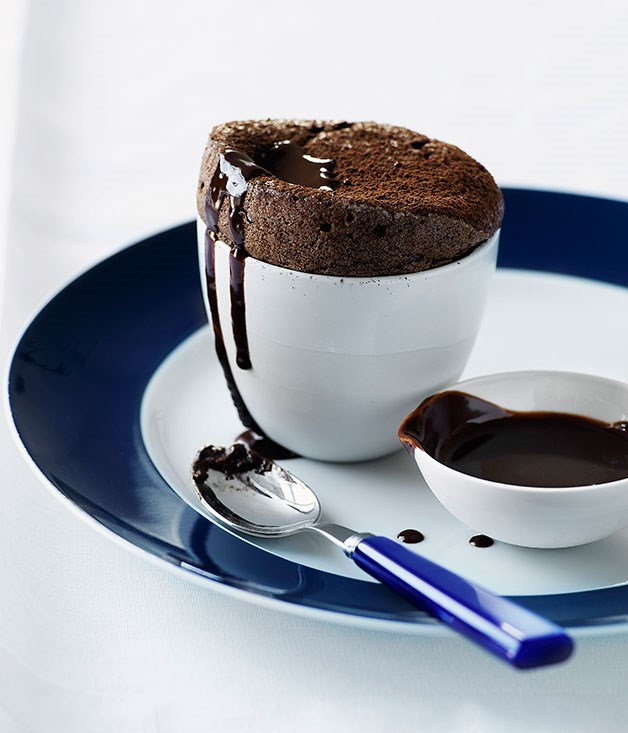 Chocolate and marrons glacés soufflé with chocolate sauce