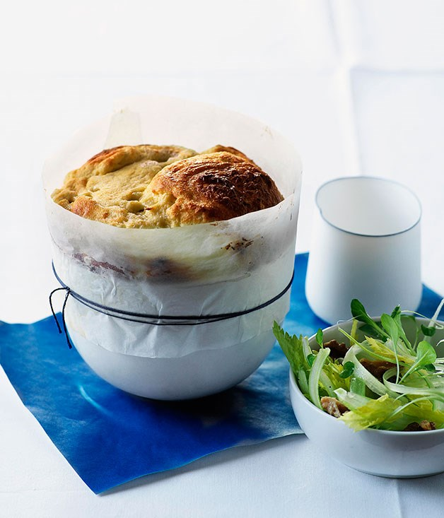 Blue cheese soufflé with walnut and celery salad