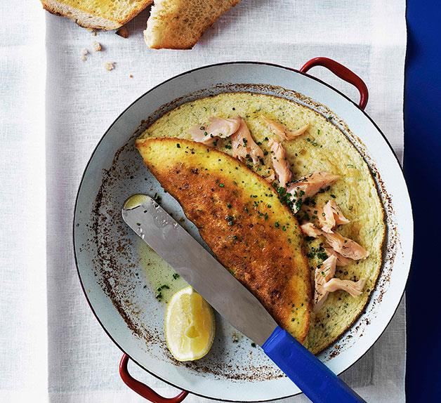 Smoked trout and chive soufflé omelette with lemon beurre noisette