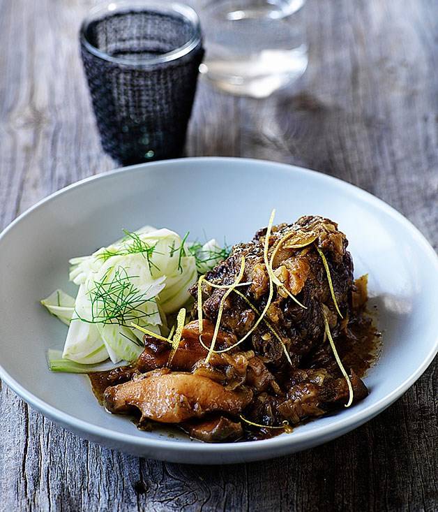 Braised abalone and oxtail with fennel