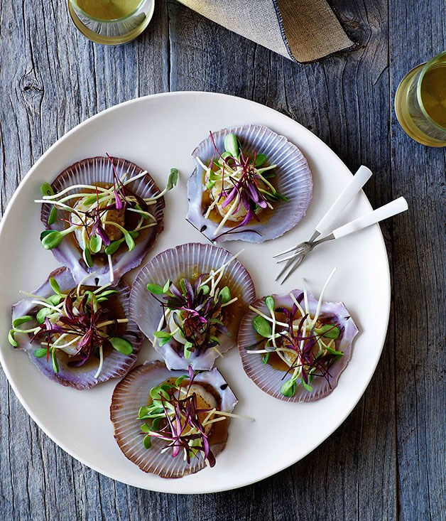 Scallops with citrus dressing and sprouts