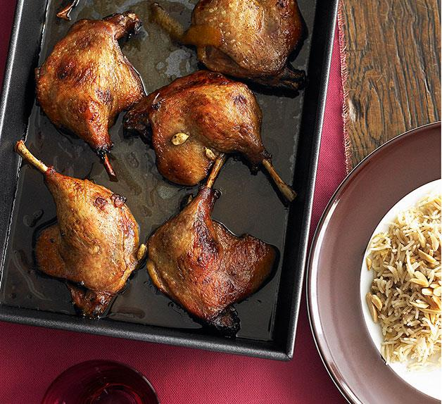 Orange and cardamom duck legs with rice pilaf