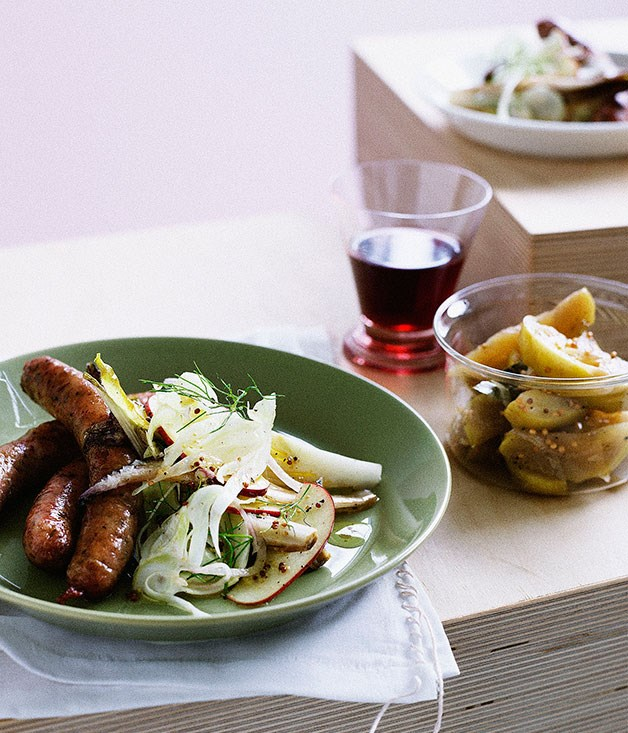 Pork and fennel sausages with apple relish