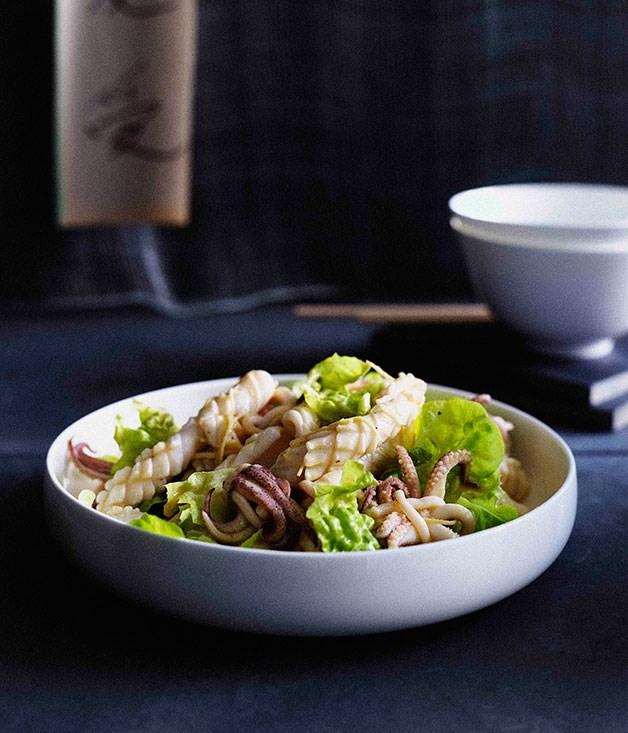 Calamari salad with torn lettuce