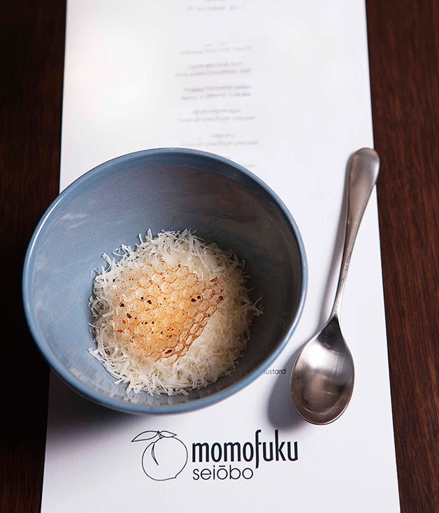 **** Momofuku's pecorino, honey licorice, star anise nougatine crunch and jelly.