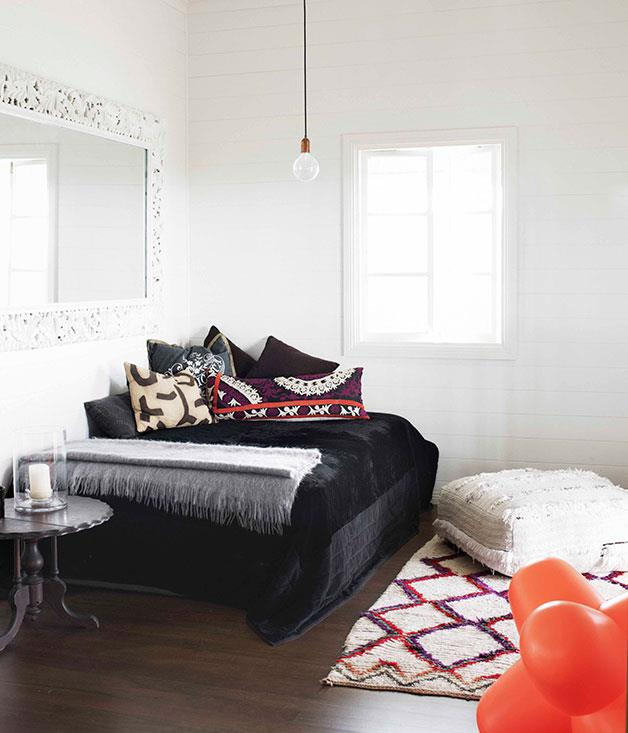 **** **Designer threads**   The living room in the cottage at Byron View Farm.      PHOTOGRAPHY PRUE RUSCOE