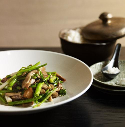 **Stir-fried salt pork with garlic chives and garlic stems** **Stir-fried salt pork with garlic chives and garlic stems**    [View Recipe](http://www.gourmettraveller.com.au/neil-perry-stir-fried-salt-pork-with-garlic-chives-and-garlic-stems.htm)