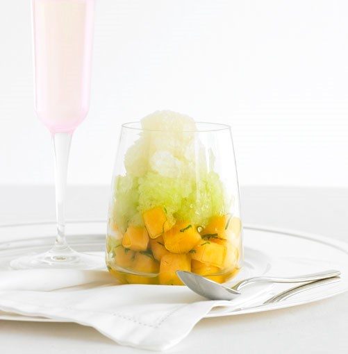 **Rockmelon with Moscato-mint and honeydew granita**