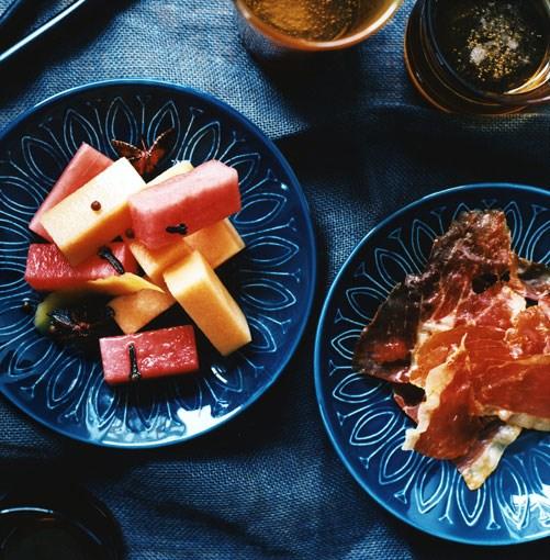 **Pickled melon with serrano ham**