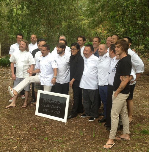 **** The class of 2012 saying all kinds of cheese: from left, Justin North, Matt Wilkinson, Sat Bains, Alvin Leung, Adam D'Sylva, Peter Kuruvita, Rene Redzepi \[in front of Alex Atala and Peter Gilmore\], Kylie Kwong, Jock Zonfrillo, Tetsuya Wakuda, AA Gill, George Calombaris, Matt Moran, Andre Chiang, Tony Howell, Matt Stone \[in front of David Chang\].