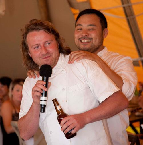 **** Chefs Matt Wilkinson, of Pope Joan, and Dave Chang, of Momofuku, engage in a high-minded exchange of culinary ideas. Or swap neck-rubs.
