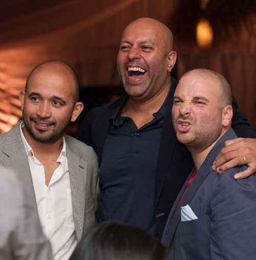 **** Kicking back at the Icon Dinner: chefs Adam D'Sylva, Sat Bains and George Calombaris trade hair-styling tips.