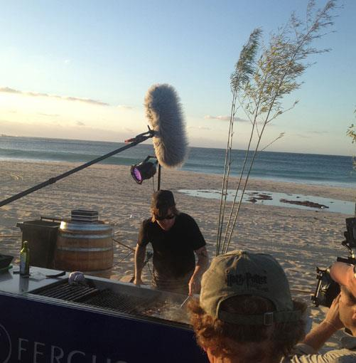 **** Greenhouse chef Matt Stone cooking on Smiths Beach with his ever-present camera crew entourage.