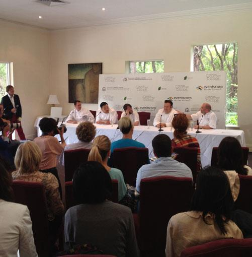 **** The press conference at Cape Lodge: Cape Lodge chef Tony Howell, Momofuku's Dave Chang, Noma chef Rene Redzepi, Quay's Peter Gilmore and The Press Club's George Calombaris.
