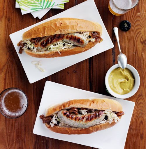**Weisswurst with beer-braised onion and soused cabbage**