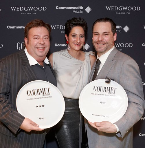 **** _Gourmet Traveller_ editor Anthea Loucas with Peter Gilmore and John Fink from Quay, Australia's new Restaurant of the Year.