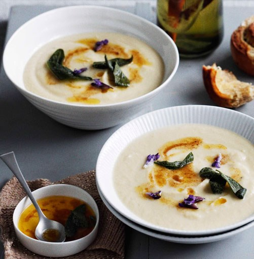 "[**Roast garlic and parsnip soup with lemon butter and sage**](https://www.gourmettraveller.com.au/recipes/browse-all/roast-garlic-and-parsnip-soup-with-lemon-butter-and-sage-11019|target=""_blank"")"