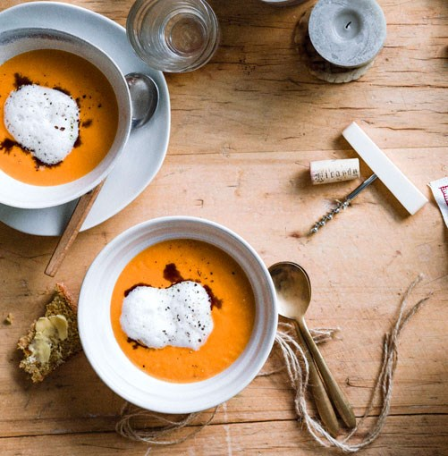 "[**Pumpkin soup with ginger milk**](https://www.gourmettraveller.com.au/recipes/browse-all/pumpkin-soup-with-ginger-milk-11400|target=""_blank"")"