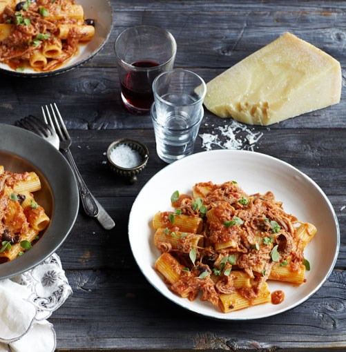 "[**Rigatoni with braised pork, tomato and olives**](https://www.gourmettraveller.com.au/recipes/chefs-recipes/rigatoni-with-braised-pork-tomato-and-olives-9093|target=""_blank"")"
