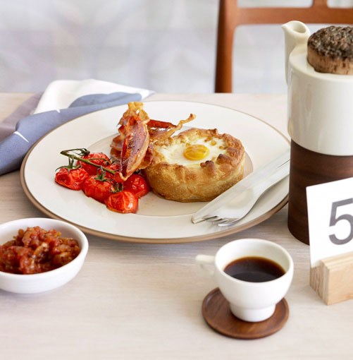 **Breakfast pies with tomato chilli jam and crisp speck**