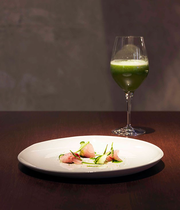**** **Juicy couture**   At Momofuku Seiobo in Sydney, the mullet, warrigal greens and furikake is paired with cucumber juice.      PHOTOGRAPHY JASON LOUCAS